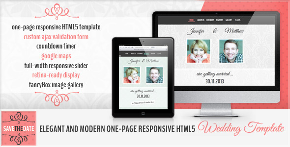 ThemeForest Save the Date HTML5 Wedding Invitation 4361188