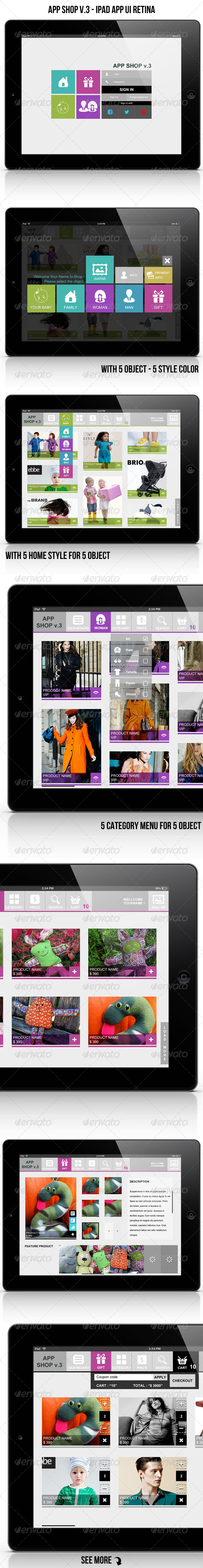 GraphicRiver App Shop v.3 Ipad App UI Retina 4361630