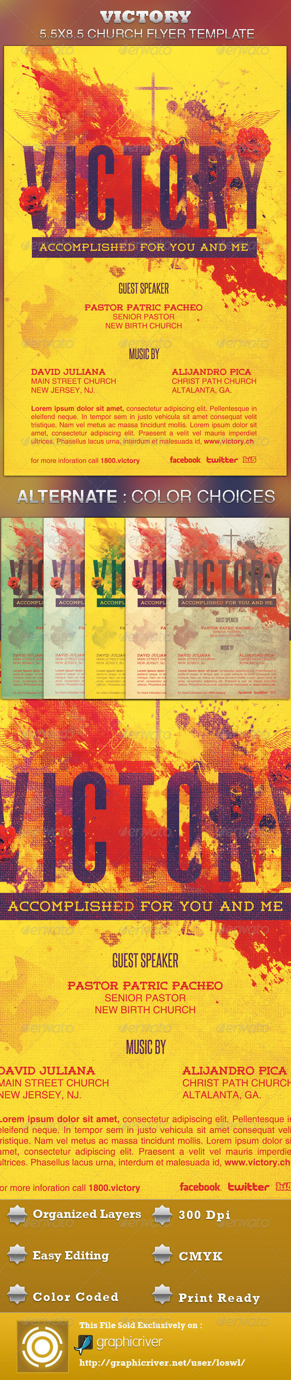 Victory Church Flyer Template  - Church Flyers