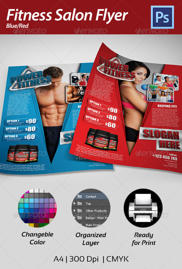 Print template graphicriver fitness flyer 4361737 for Fitness brochure templates