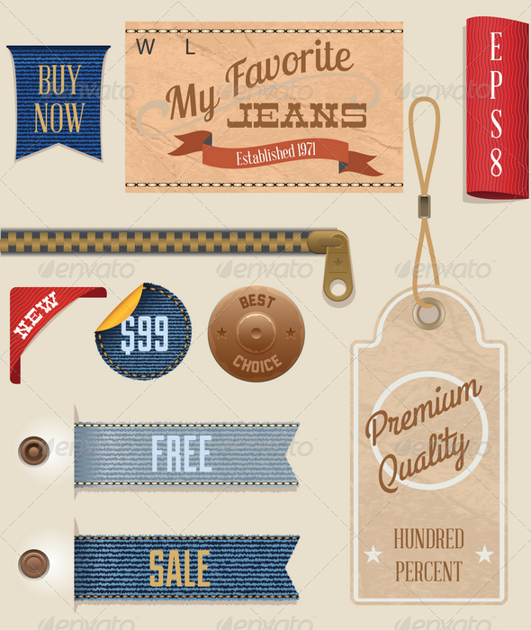 GraphicRiver Jeans Labels and Tags Set 4361741