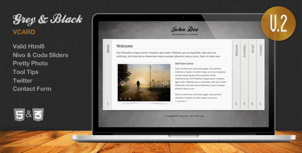 Grey & Black - Stylish Online vCard Html Template