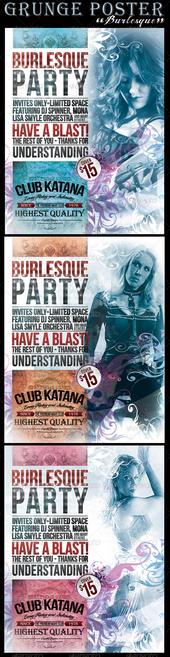 "Grunge ""Burlesque"" Poster	 - Events Flyers"