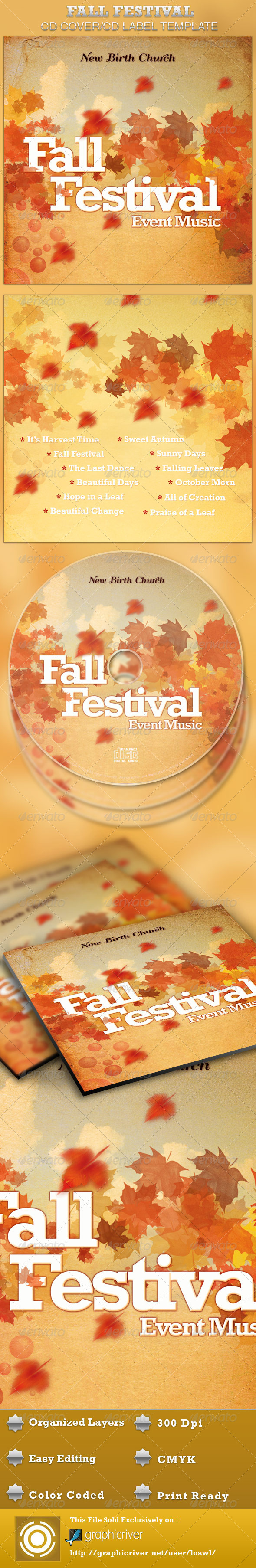 Fall Festival CD Artwork Template - CD & DVD artwork Print Templates