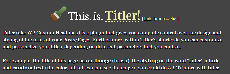 Titler. Make Your Titles Relevant & Awesome.