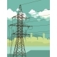 High Voltage Tower on Urban Background - GraphicRiver Item for Sale