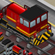 Isometric Red Train in Rear View - GraphicRiver Item for Sale