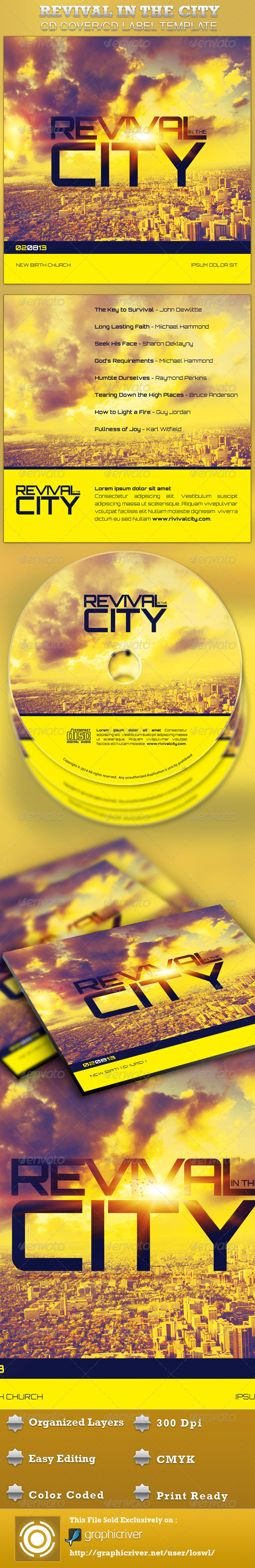 Revival in the City CD Artwork Template - CD & DVD artwork Print Templates