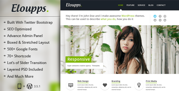 Eloupps : Responsive Multi Purpose Corporate Theme