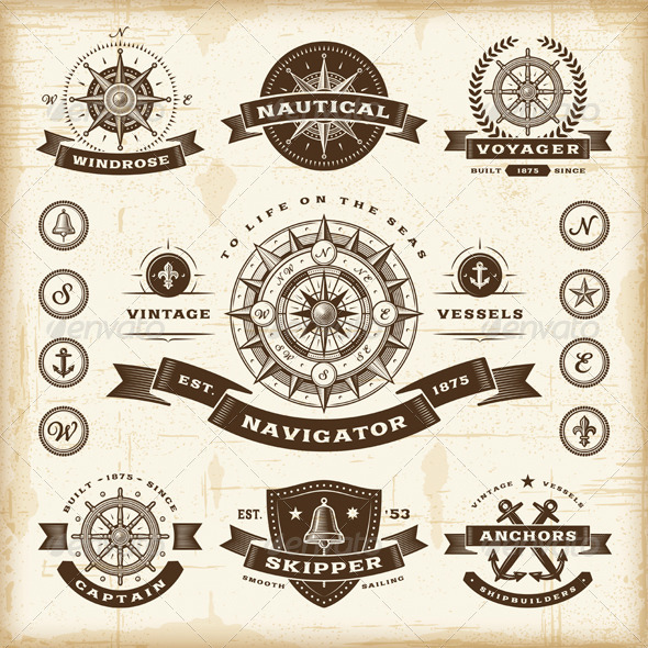GraphicRiver Vintage Nautical Labels Set 4369922