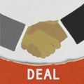 Businessmen shaking hands with stitch style on fabric background - PhotoDune Item for Sale
