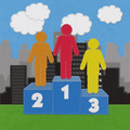 Winner podium with stitch style on fabric background - PhotoDune Item for Sale