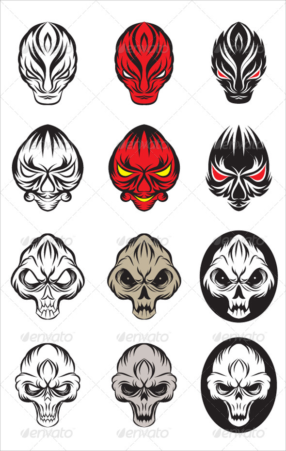 GraphicRiver Skull and Devil Vector Set 4372074