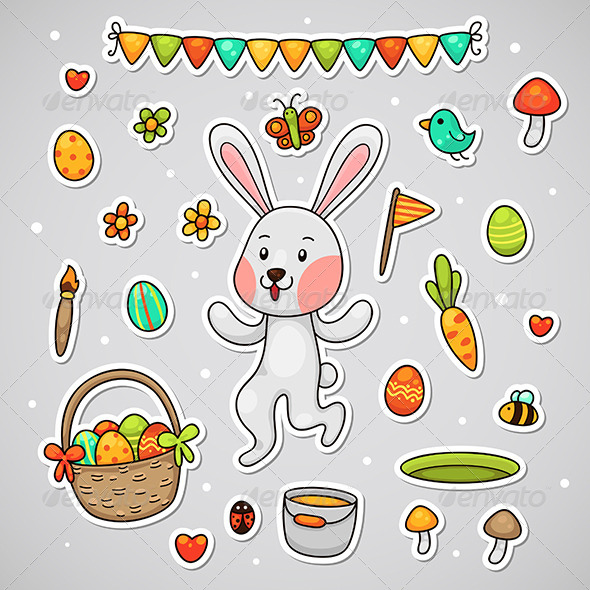 GraphicRiver Sticker with the Easter bunny 4372708