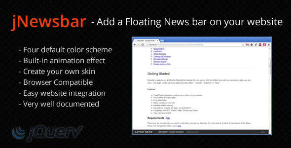 JNewsbar - jQuery Floating News bar - CodeCanyon Item for Sale