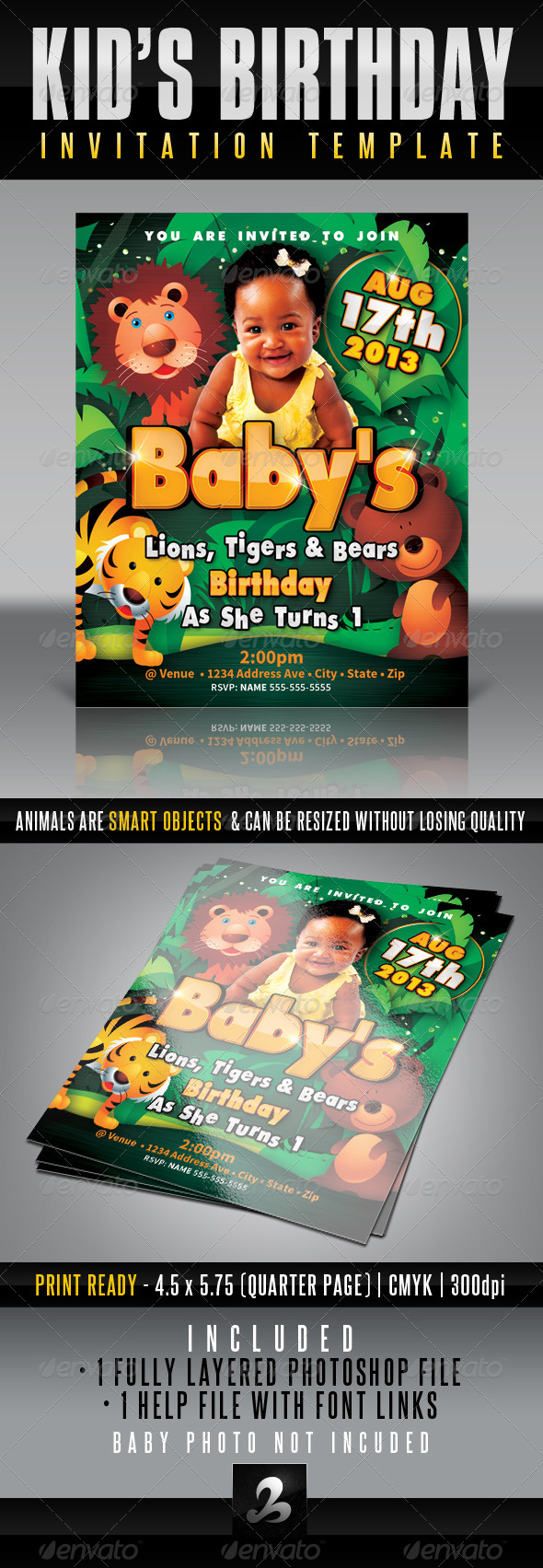 GraphicRiver Kid s Birthday Invitation Lions Tigers & Bears 4274261