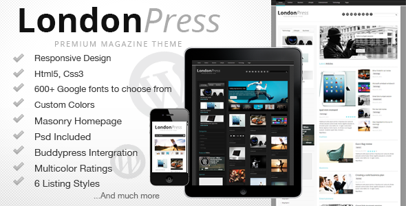 ThemeForest Londonpress Responsive Blog Magazine 4240647