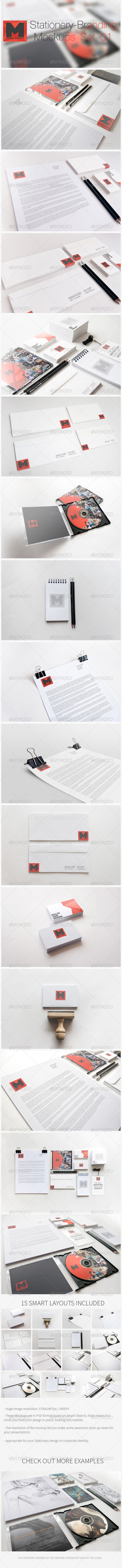 GraphicRiver Stationery Branding Mockups Set 01 4379740