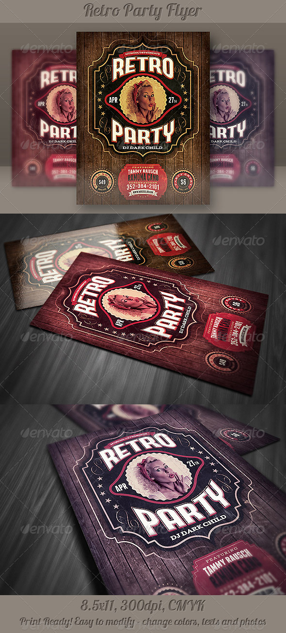 GraphicRiver Retro Party Flyer Template 4381480
