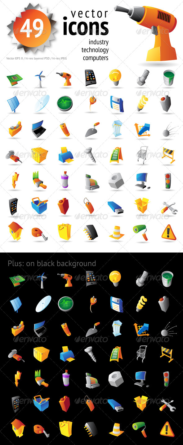 GraphicRiver Icons for Industry Technology and Computers 4381735