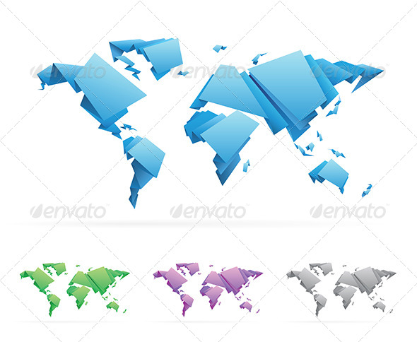 GraphicRiver Origami Style World Map 4381884