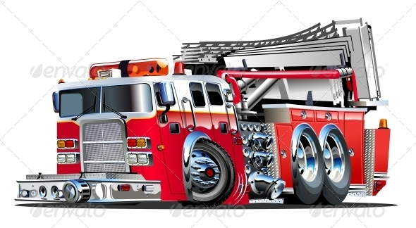 GraphicRiver Vector Cartoon Fire Truck 4381998