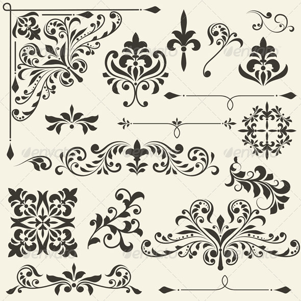 GraphicRiver Vector Vintage Floral Design Elements 4382212