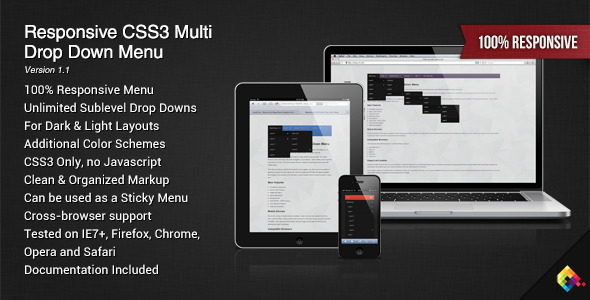 Responsive CSS3 Multi Drop Down Menu - CodeCanyon Item for Sale
