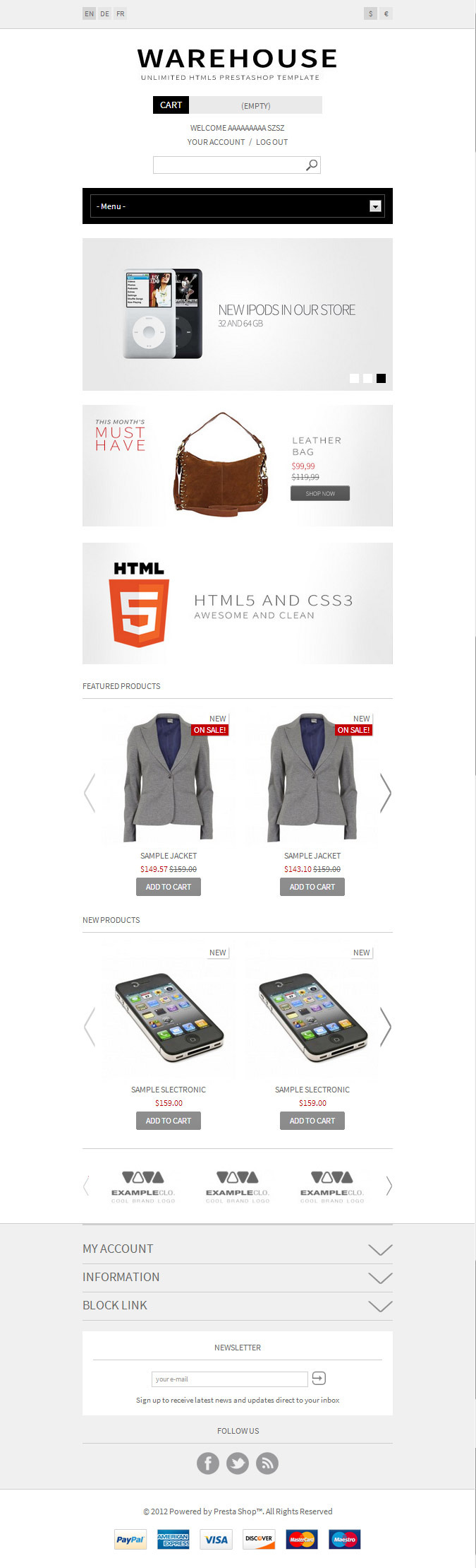 Warehouse - Responsive HTML5 Prestashop Theme