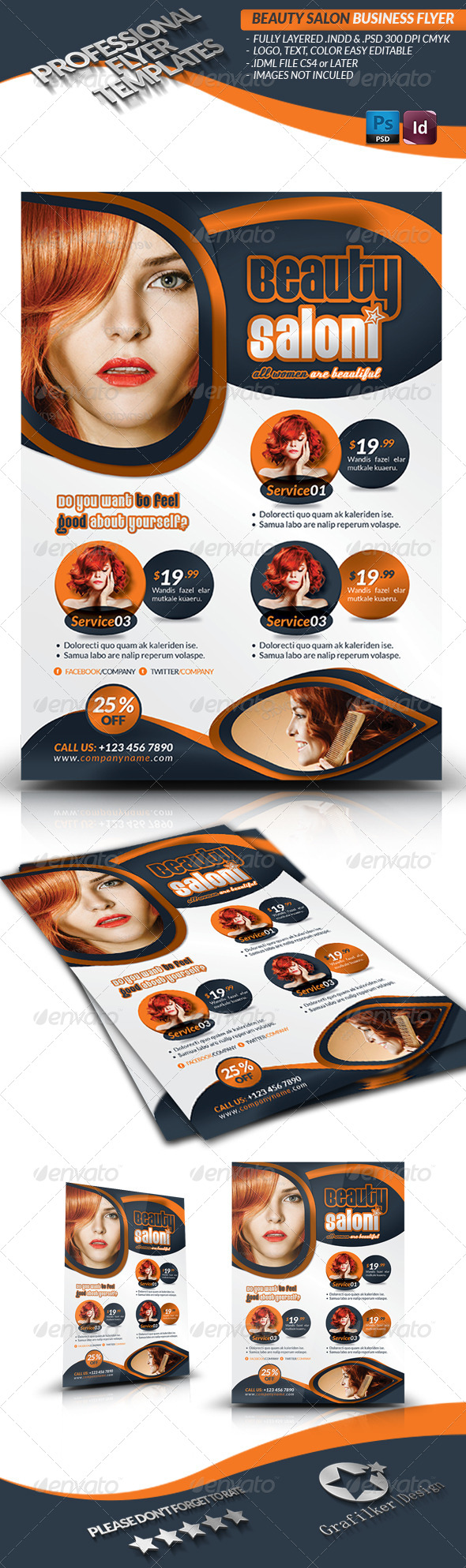 GraphicRiver Beauty Salon Flyer Template 4385237