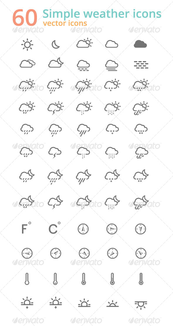 GraphicRiver 60 Simple Weather Icons 4386535
