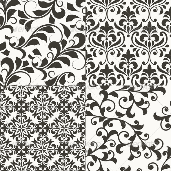 GraphicRiver 4 Seamless vector Floral Retro Patterns 4388832