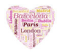 Love Shaped European Cities Vector Word Cloud on white backgroun - PhotoDune Item for Sale