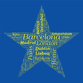 Star Shaped European Cities Vector Word Cloud on white backgroun - PhotoDune Item for Sale