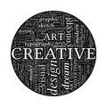 Creative Design Concept - Black and White Word Cloud in Circle - PhotoDune Item for Sale