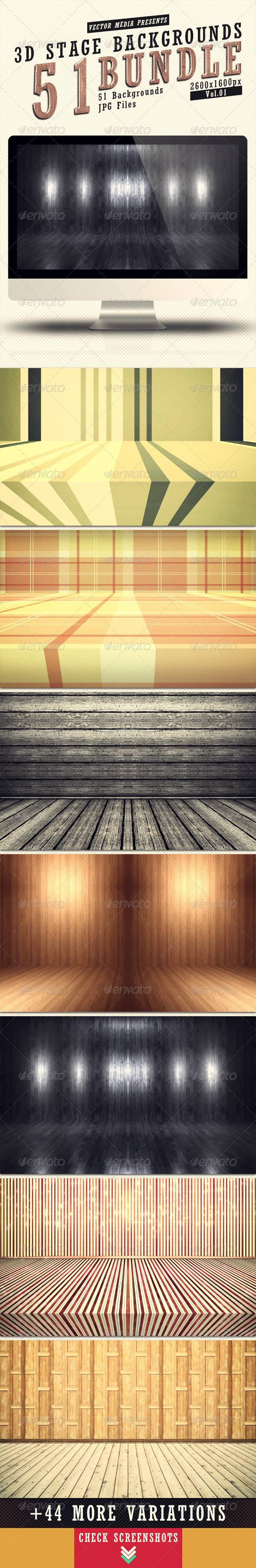 3D Stage Backgrounds - Bundle Vol.1 - 3D Backgrounds