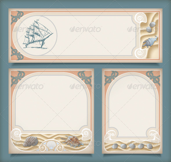 GraphicRiver Set of Sea Vintage Vacation Frame Banners Labels 4339098