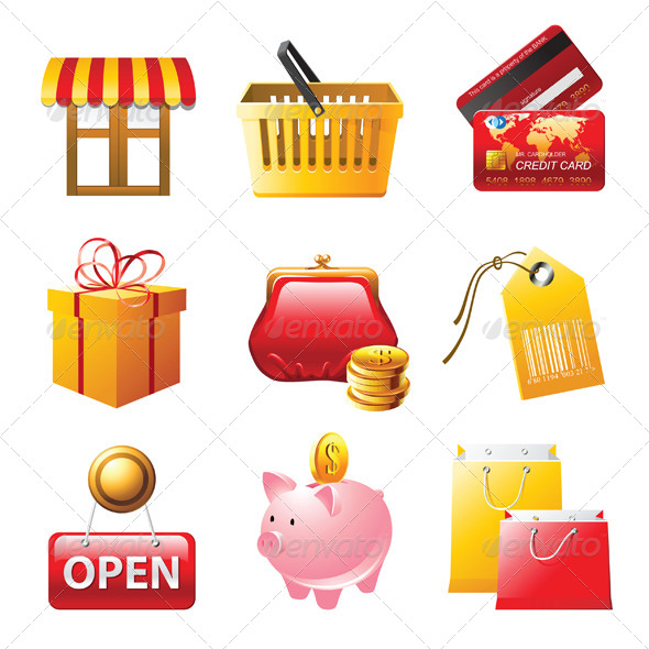 GraphicRiver Shopping Icons Set 4330375