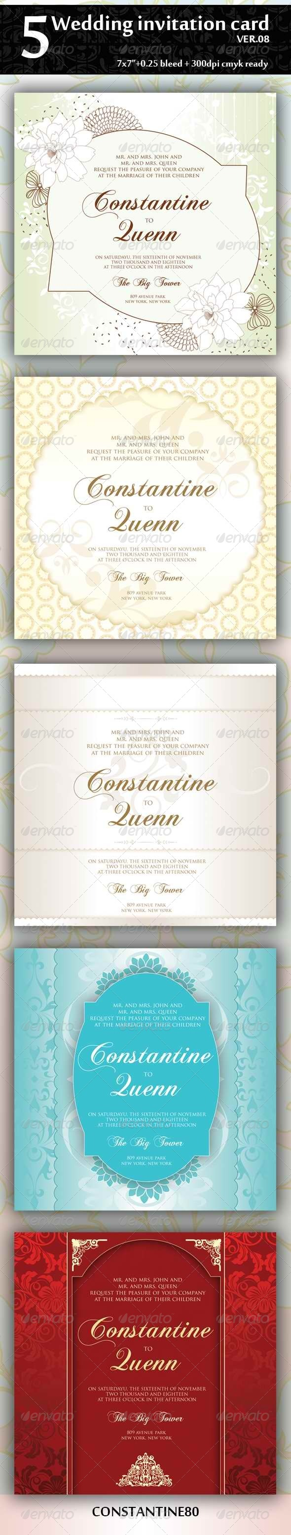 GraphicRiver 5 Wedding Invitation Card Ver08 4394165
