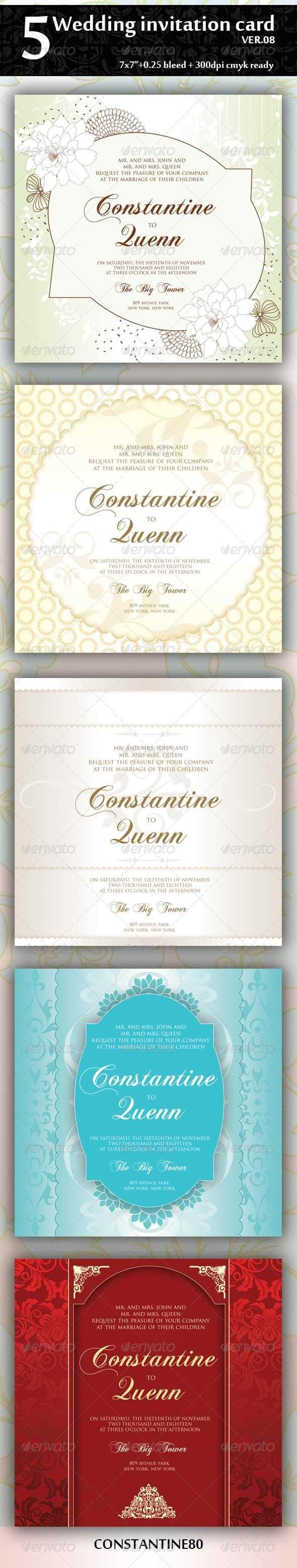 GraphicRiver 5 Wedding Invitation Card Ver08 4394165