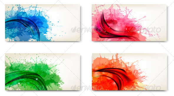 GraphicRiver Set of Watercolor Abstract Banners 4397951