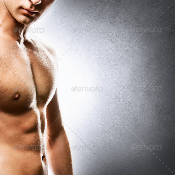 Handsome young man torso closeup - Stock Photo - Images