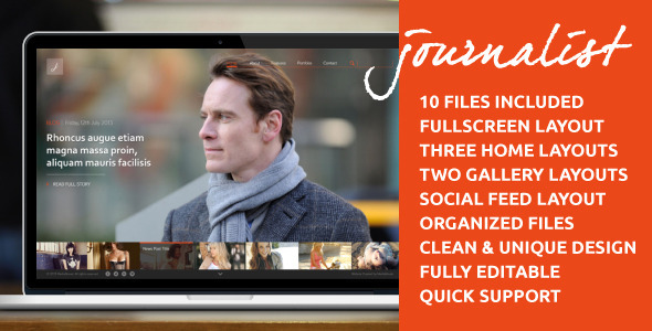 Journalist - Clean Responsive Blog & Gallery Theme - PSD Templates
