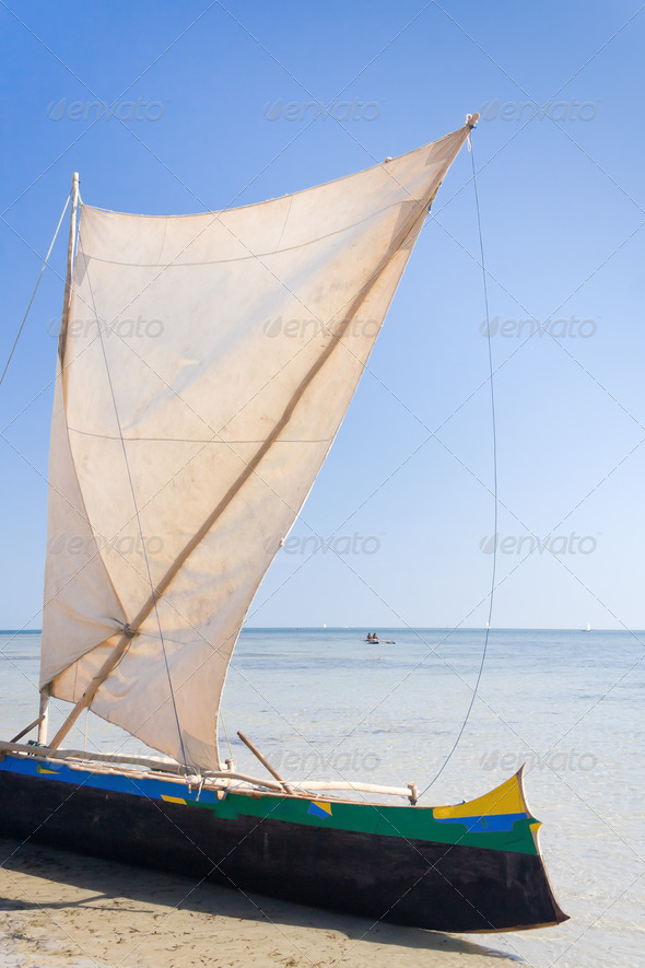 Malagasy outrigger pirogue - Stock Photo - Images
