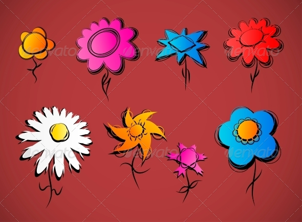 GraphicRiver Set of Flowers 4405575