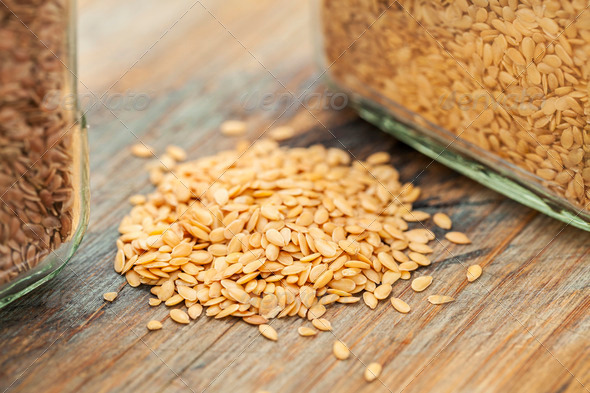 gold flax seeds - Stock Photo - Images