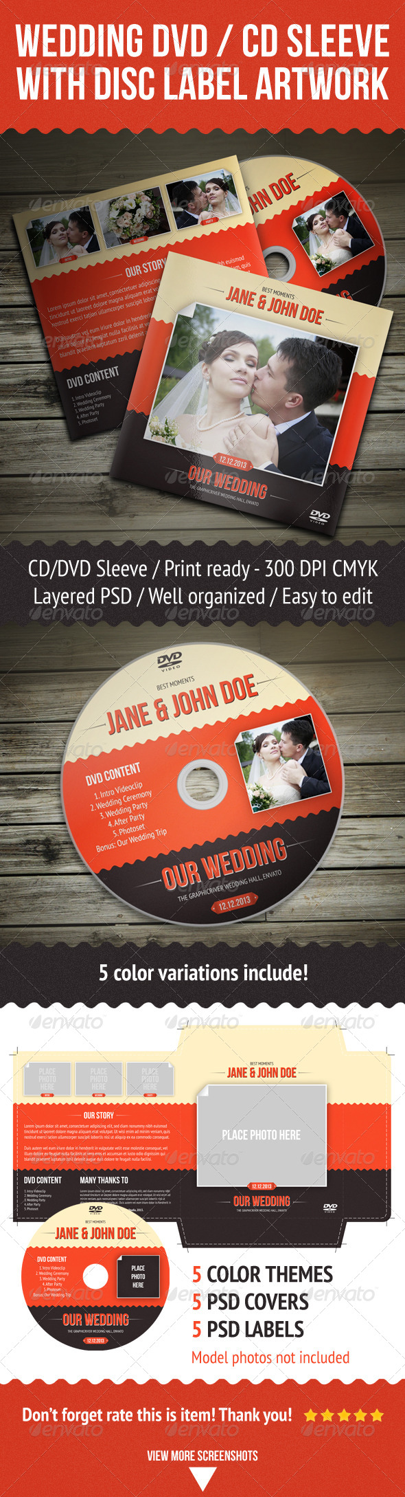GraphicRiver Wedding DVD CD Sleeve With Disc Label 4406842