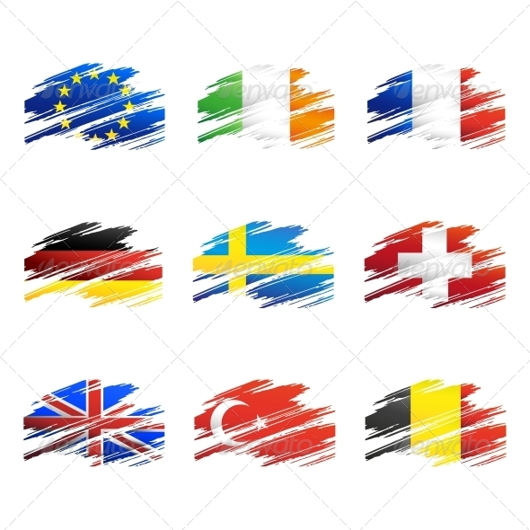 GraphicRiver Flags in the Form Traces Brush 4407239