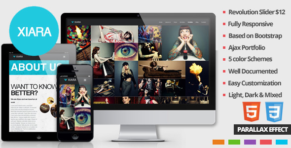 ThemeForest Xiara Responsive Onepage Parallax HTML Template 4408245