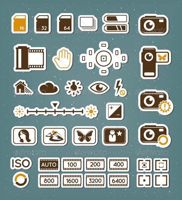 GraphicRiver Camera Screen Icons Set 4409253